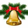 Christmas bells with christmas tree — Stock Vector