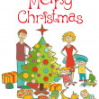 Royalty-Free Stock 矢量图片: Happy family dressing up the christmas tree