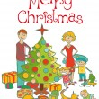 Happy family dressing up the christmas tree — Stok Vektör #4218609