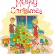 Royalty-Free Stock Векторное изображение: Happy family dressing up the christmas tree
