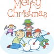 Kids making a snow man on Xmas — Stock Vector
