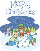 Děti, takže muž sníh na vánoce — Stock vektor