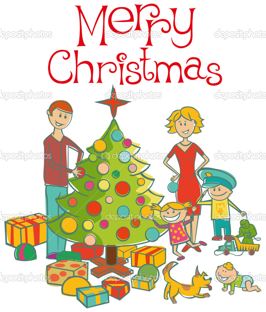 Vector happy family mother, father, boy, girl, baby boy and dog dressing up the christmas tree — Stock Vector #4218609