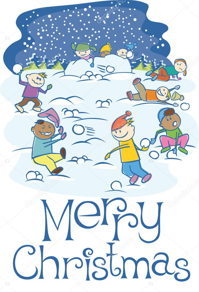 Group of happy kids playing snowballs outside — Stock Vector #4218631
