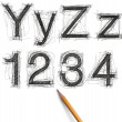 Stock Photo: Sketch letters and numbers with pencil new