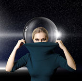 Fashion ninja woman in space with glass space-suit — Stock Photo