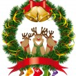 Stock Vector: Christmas reindeer with christmas bells