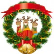 Christmas reindeer with christmas bells — Stock Vector