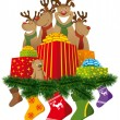 Christmas reindeer with christmas socks and gifts — Stock vektor