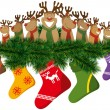 Christmas reindeer with christmas socks — Διανυσματικό Αρχείο