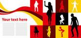 Tarjeta con baile — Vector de stock