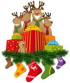 Vánoční sobí s vánoční ponožky a dary — Stock vektor