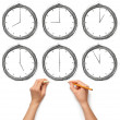 Sketch clock with human hands with pencil and eraser — Zdjęcie stockowe