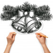 Sketch christmas bells with human hands — Foto de Stock