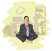 Businessman in lotus pose meditating — Stockfoto