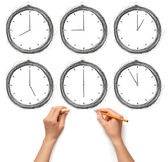 Sketch clock with human hands with pencil and eraser — Stock Photo