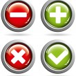 Vector colored buttons with yes or no signs - Stock Vector