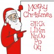 Stock Vector: Santa claus with christmas alphabet