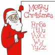 Santa claus with christmas alphabet — Stockvectorbeeld