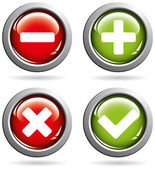 Vector colored buttons with yes or no signs — Stock Vector