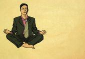 Businessman in lotus pose meditating — Stock Photo