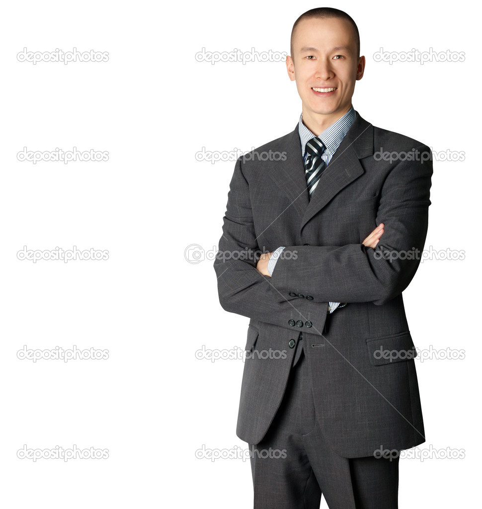 Smiling business man in suit isolated on white — Stock Photo #4674821