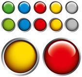 Boutons de couleur sur fond gris — Vecteur
