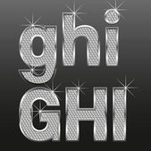 μεταλλικό διαμάντι γράμματα και αριθμούς, μεγάλες και μικρές — Διανυσματικό Αρχείο