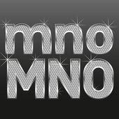 Metall diamond bokstäver och siffror, stora och små — Stockvektor