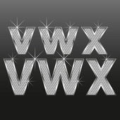 Metal pırlanta harf ve sayı irili ufaklı — Stok Vektör