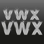 Metall diamante letras y números grandes y pequeños — Vector de stock