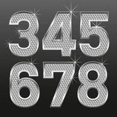 Metall diamante lettere e numeri grandi e piccoli — Vettoriale Stock