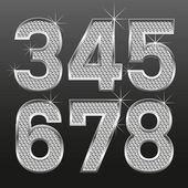 Metall diamond letters and numbers big and small — Stockvector