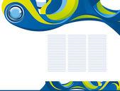 Soyut şablon arka plan mavi düğme ile — Stok Vektör