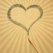 Beige old paper with heart — Stock Photo