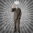 Stock Photo: Businessmwith lamp-head and marker