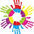 Vector de stock : Color hand print