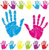 Renkli el baskı — Stok Vektör