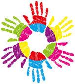 色の手の印刷 — ストックベクタ