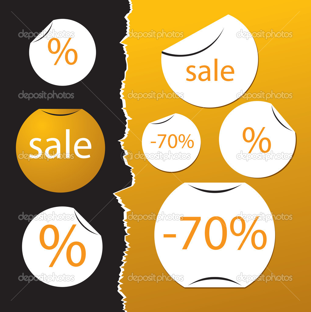 Vector set of sale stickers on tear paper  Stock Vector #4926235