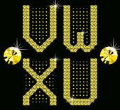 Golden digital diamond alphabet new — Stock Vector