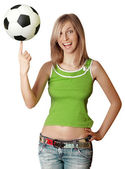 Happy girl with soccer ball — Stock fotografie