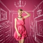 Sexy female stewardess in pink — Stock Photo