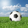 Stock Photo: Soccer ball in green grass and blue cloudly sky