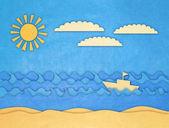 Nášivka lodí a moře — Stock fotografie