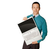 Male in blue with laptop — Stock Photo