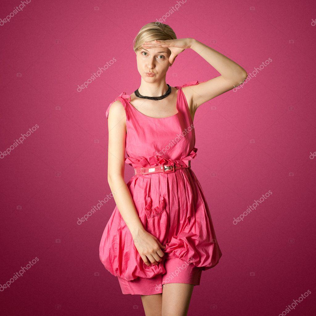 Стюардесса в розовом ролик 26 фотография