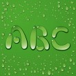 Water drop letters on green background — 图库矢量图片