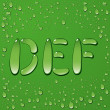 Water drop letters on green background — Stock vektor