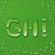 Water drop letters on green background — Image vectorielle